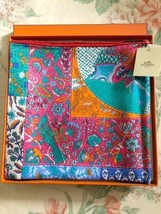 HERMES Authentic Carre 90 Provence Flower Embroidery Scarf New Unused wi... - $569.99