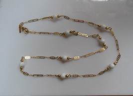 Vintage Monet Gold-tone White Bead Necklace Dainty - $38.60