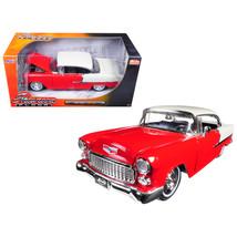 1955 Chevrolet Bel Air Hard Top Red Showroom Floor 1/24 Diecast Model Ca... - $34.69