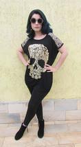 """Black Oversized Designer Shirt Gold Foil Skull fits 34""""-44"""" bust OS - $13.68"""