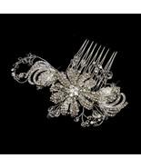 Antique Silver Swarovski Crystal & Rhinestone Flower Bridal Wedding Hair... - €69,56 EUR