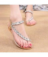 Stylish Rhinestone Elastic Women Flat Sandals - $22.38