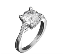 Real Gold ring round cut moissanite/natural accent diamonds vs/f 14k whi... - $567.45