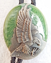 Vintage 1987 Siskiyou Buckle CO. Bolo Tie American Eagle Enamel Pewter - $34.95