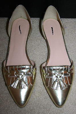 J.CREW MIRROR METALLIC D'ORSAY LOAFER FLATS SIZE 10M GOLD