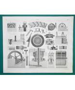 WATER WHEELS Turbines - 1844 Superb Print - $9.00