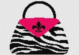 pepita Zebra Fuschia Pocketbook Needlepoint Canvas - $50.00