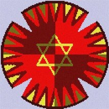 Yarmulka Checkerburst (Large) Needlepoint Kit - $76.00