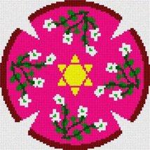 pepita Yarmulka Floral Feminine Needlepoint Canvas - $50.00