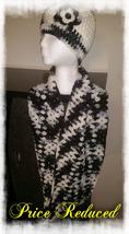 Black & White Mix Handmade Crochet Hat  & Cowl Set  - $30.00