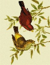 Scarlet Finch Needlepoint Kit - $75.00