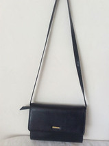 Liz Claiborne Leather Handbag Shoulder Evening Purse Clutch Navy Blue Long Strap - $59.59