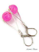 Light Pink Teardrop Wire Wrapped Dangling Earrings image 3