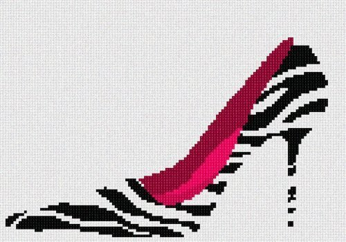 Zebra Fuschia Shoe Needlepoint Kit - $75.00