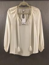 NWT DIANE Von FURSTENBERG V-Neck Ivory Long Sleeve Blouse Top Shirt Sz 2 - $150.00