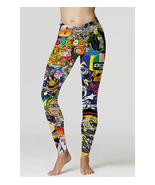 Valentino Rossi VR46 Fans StickerBomb Full 3D Womens Yoga tight Leggings - $19.50+