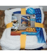 Star Wars Rebels Rule Mink Sherpa Throw R2 Unit Jedi Light Saber NEW - $21.99