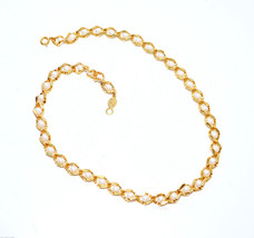 vintage Napier chain link choker necklace gold plated faux pearl - $14.84