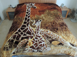 Giraffe,  Mink Style Soft & Warm Queen Size Designed Blanket, Q982 - $54.99