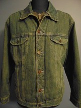Lee Denim Jacket Blue Jean Coat Men Size Med South Western Cowboy Fleece Liner - $60.00
