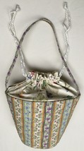 Longaberger Basket Striped Floral Purse Tote Bag - $12.38