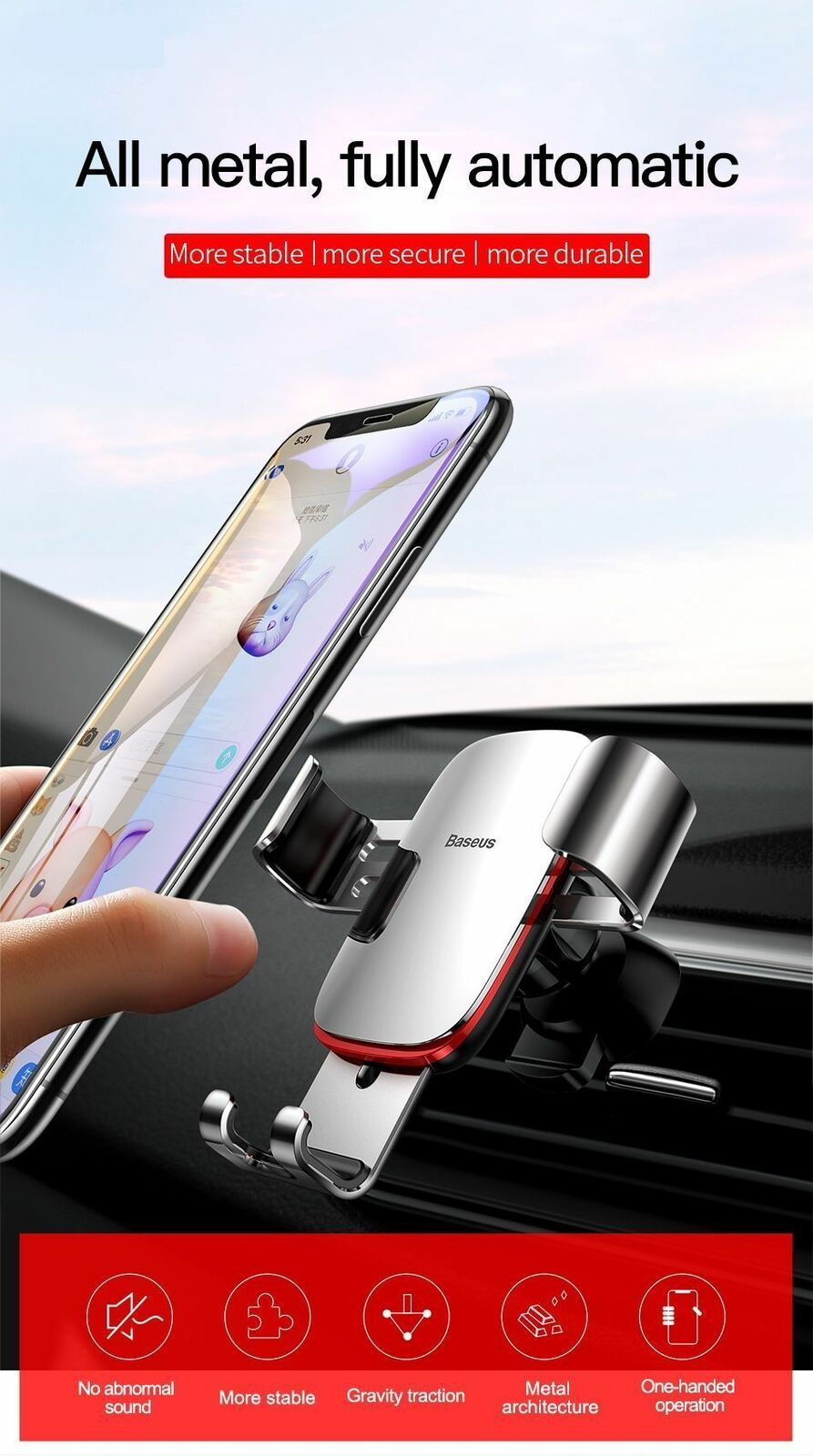 """Car Mobile Holder 4-6.0"""" Air Vent Mount Metal Gravity Universal Smartphone Stand image 7"""