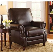 Chairs Brown Leather Recliner Nailhead Comfy Home Living Room Furniture ... - $364.27