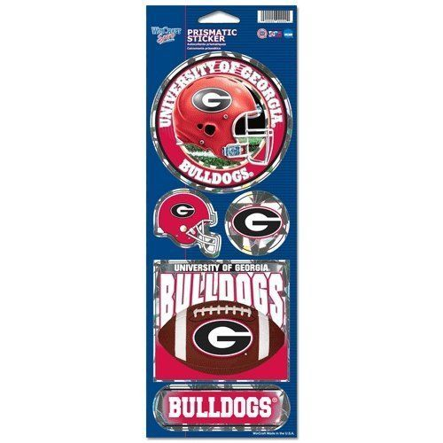 GEORGIA BULLDOGS PRISMATIC HOLOGRAPH STICKER DECAL LABEL SHEET OF 5 NCAA