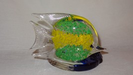 Fish Candle Holder PartyLite Art Glass Tealight Votive Green Yellow Blue - $15.89