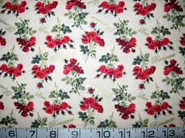 Tiny red roses/flowers on ivory quilt fabric -by the half yard