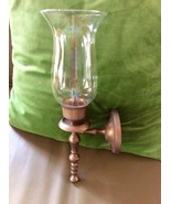 VINTAGE ANTIQUE BRASS CANDLE HOLDER GLASS SHADE... - $39.99