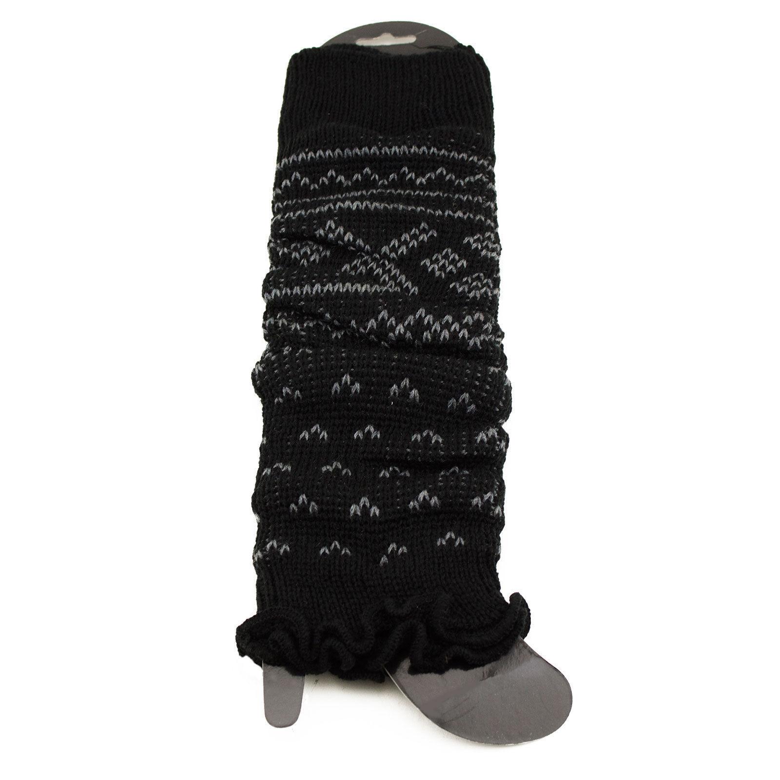 Cross Stitch Black Gray Tribal Aztec Print Leg Warmer Long Warm Boot Sock Cuff