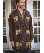NICE Suede Elephant Brown And Gold Coat The African Star Size XL Animal ... - $137.75
