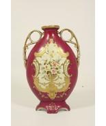 Victorian Maroon & Gold Decorative Vase - Roses Pictured - Exquisit Deta... - $84.55