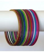 Bellydance 15 Bangle Bracelets SLIP-ON Multicolor Slim Design Large Size - $11.11