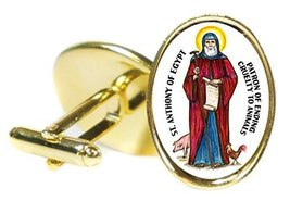 """St Anthony of Egypt of Animals 18x24mm (3/4"""" X 1"""") Oval Gold Pair of Cuf... - $14.95"""