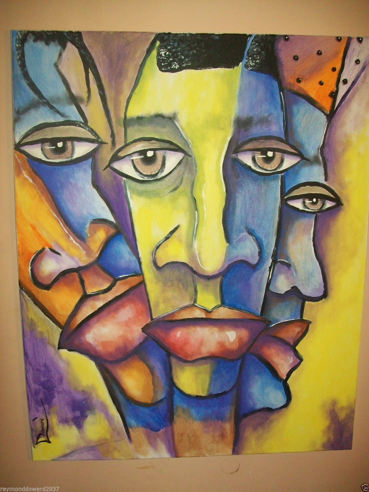 Original 16x20 Ethic African American Urban Art Canvas