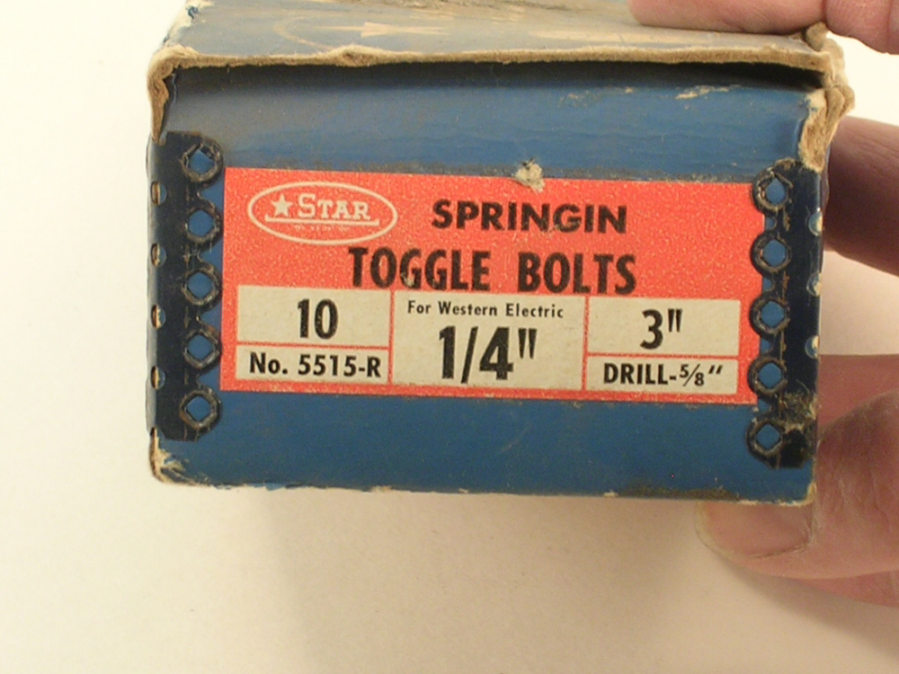 "STAR Fasteners 3"" Toggle Bolts 10/Pkg Vintage New Old Stock Box"