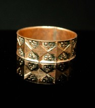 Victorian 1800's wedding band ring hand wrought 14k rose gold  size12 wide band  - $325.00