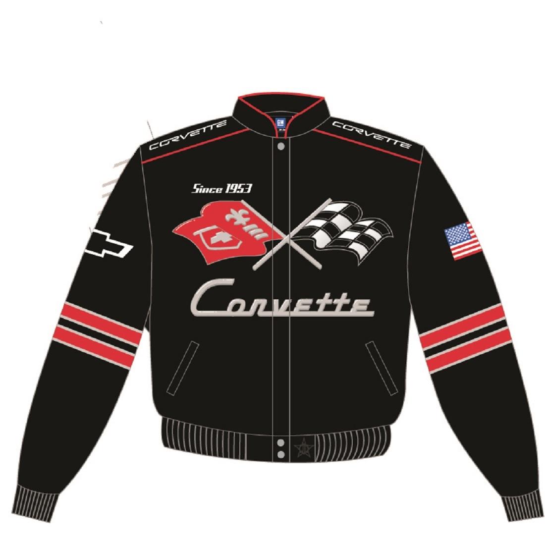 4657658350740 J.H Cotton Twill Embroidered Jacket COR303GEN4BLK Design Chevy Corvette  Jacket for Men