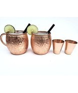 NEW Moscow mule copper mugs set of 2 with FREE copper shot glass and gla... - $51.40