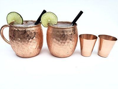 NEW Moscow mule copper mugs set of 2 with FREE copper shot glass and glass straw