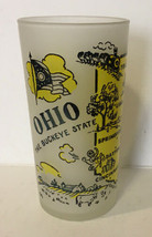 VINTAGE HAZEL ATLAS OHIO FROSTED SOUVENIR GLASS. Map & Cities. 1960s.  - $11.29