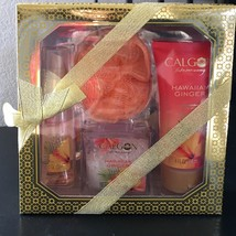 CALGON* 4pc Body Care Set HAWAIIAN GINGER Body Wash+Bath Salts+Mist+Loof... - $14.84