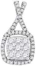 10k White Gold Womens Round Diamond Framed Square Cluster Pendant 1/2 Cttw - $431.00