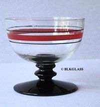 Fostoria Glass Sherbet - Ebony Black Disk Stem, Clear Bowl, No. 51 Line ... - $22.87
