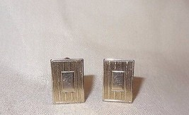 Vintage Metal Rectangle Multiple Horizontal Lines Cufflinks Silver Tone  - $24.99