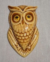 "Vintage Owl Ceramic Hand Painted Horne Wall Hanging 3"" Tan Beige - $14.46"
