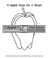 Digi Stamp Apple 4 Sizes On 1 Sheet Personal Use & Commercial Handmades ... - $1.25