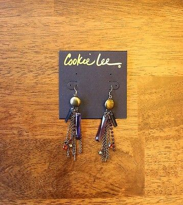 "Cookie Lee Earrings ""New"" Jewelry - Fashion - Vintage - Stone - Chain"